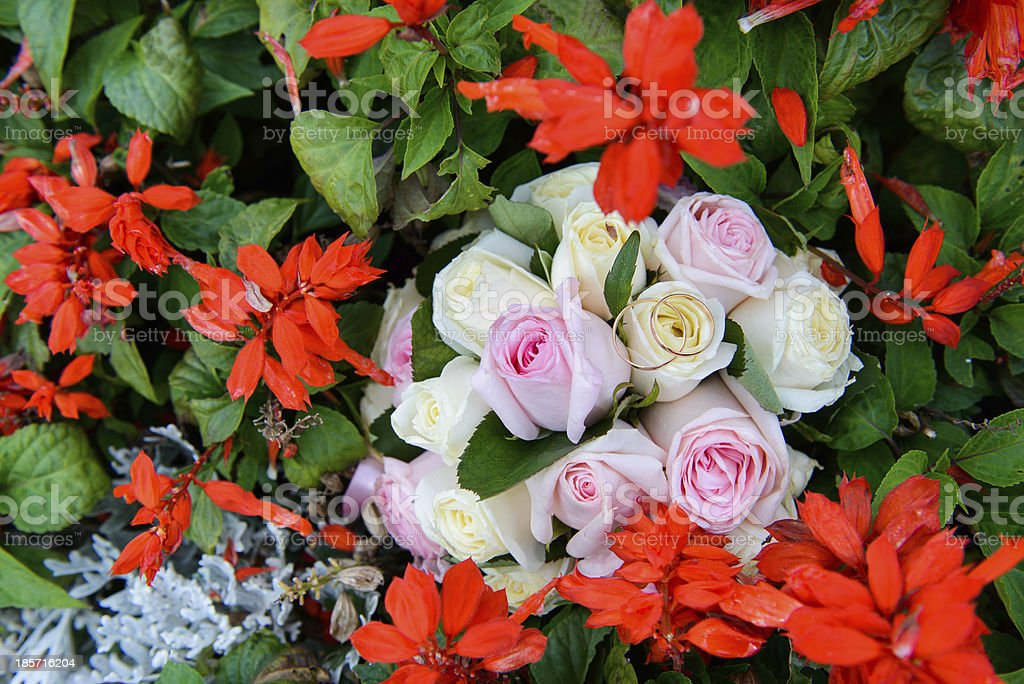 Wedding rings on a bouquet of roses royalty-free stock photo