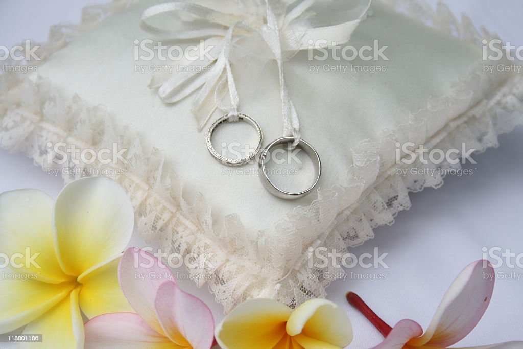 Wedding Rings on a Cushion royalty-free stock photo