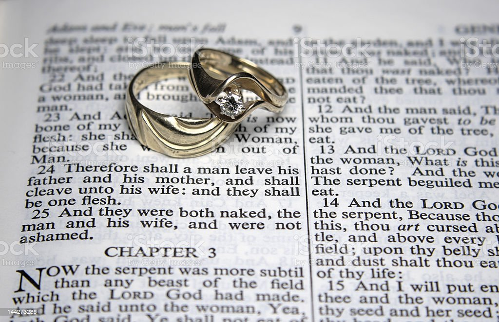 Wedding rings on an open BIble stock photo