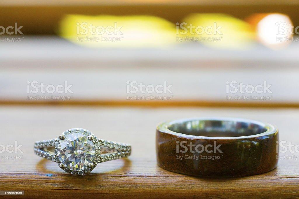 Wedding Rings on Bench stock photo