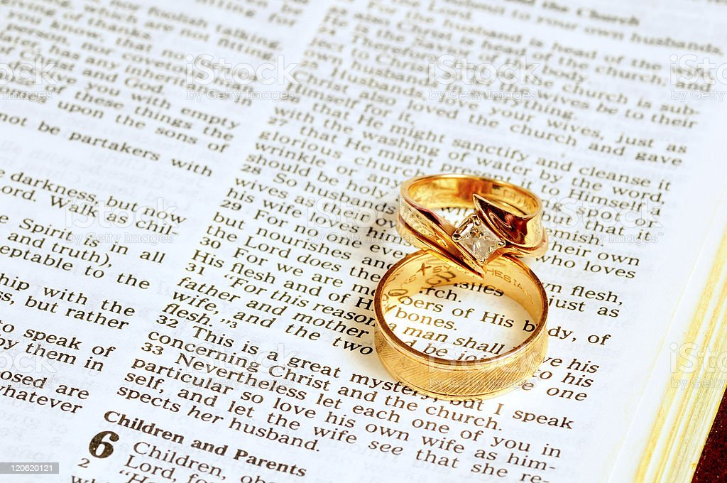Wedding rings on Bible stock photo