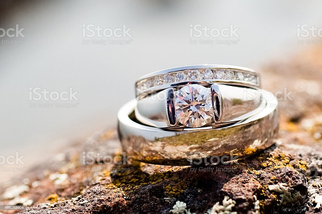 Wedding Rings on Rock stock photo