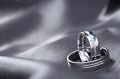 Wedding rings on silk