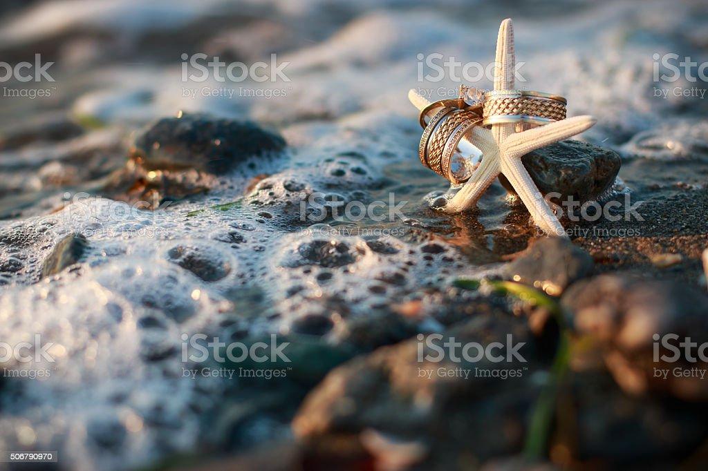 Wedding Rings on Starfish stock photo