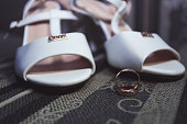 Wedding rings on the background