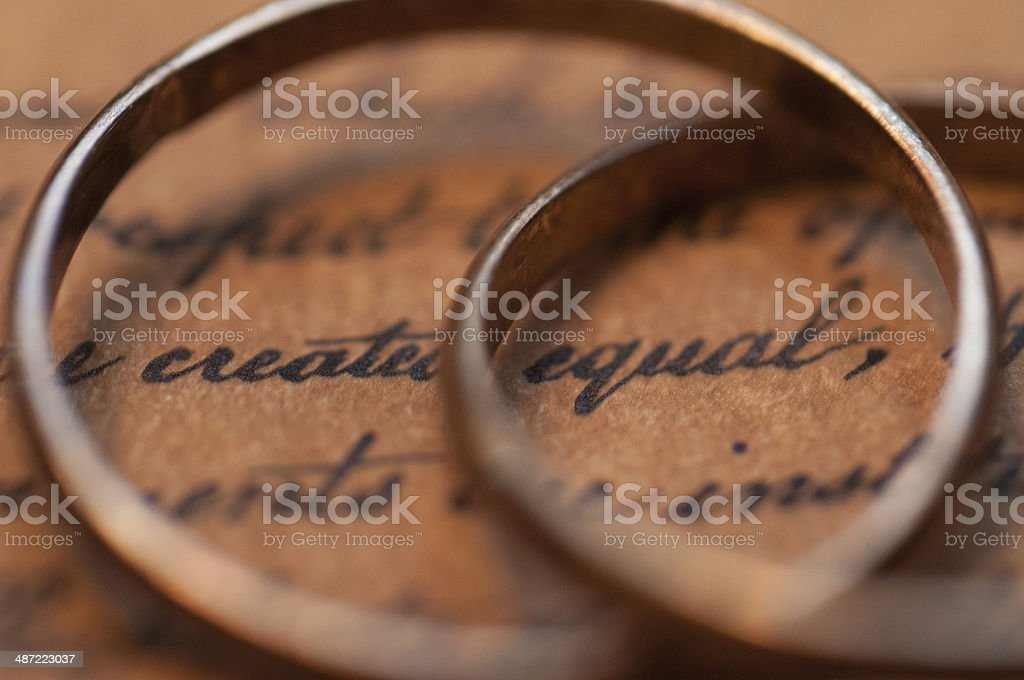 Wedding rings on the US Constitution stock photo