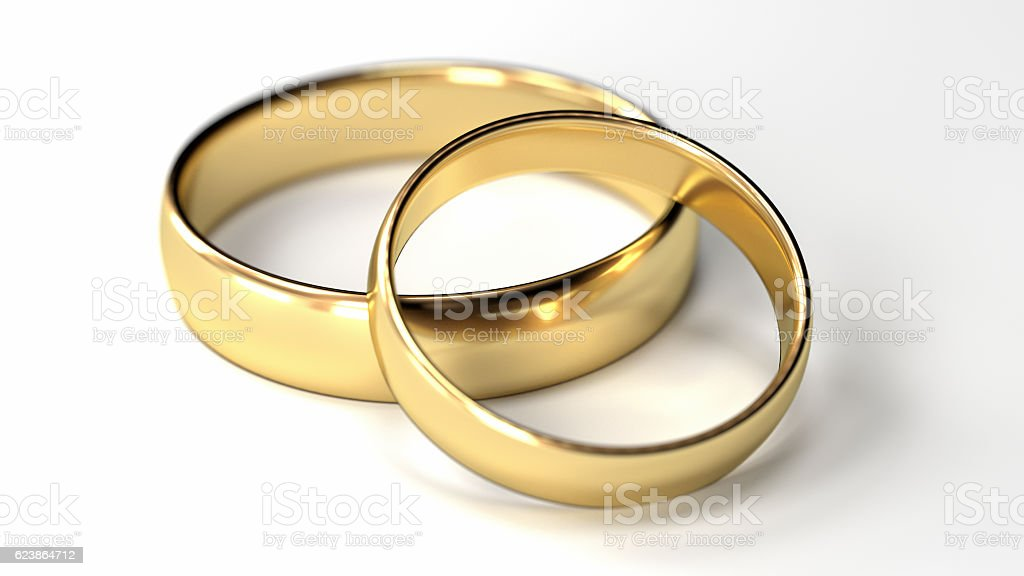 Wedding Rings on white stock photo
