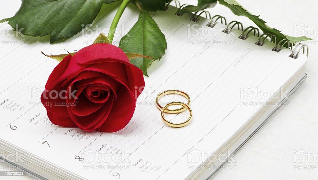Wedding Rings & Red Rose royalty-free stock photo