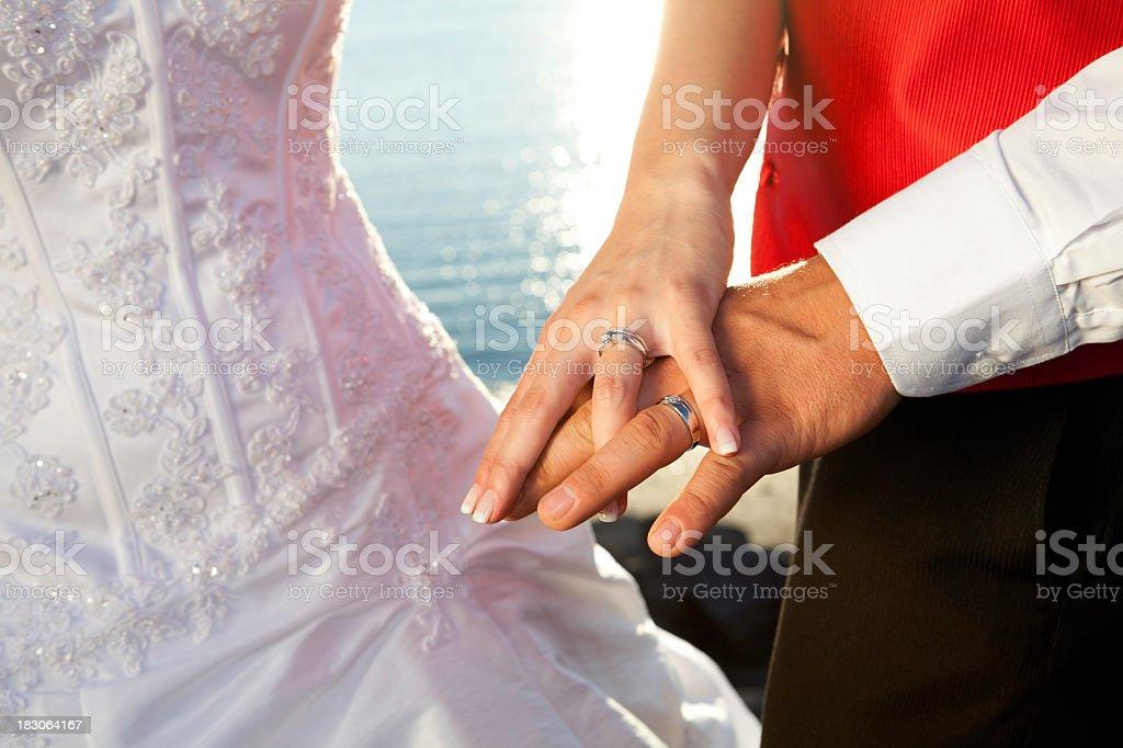 Wedding Rings Sunset stock photo