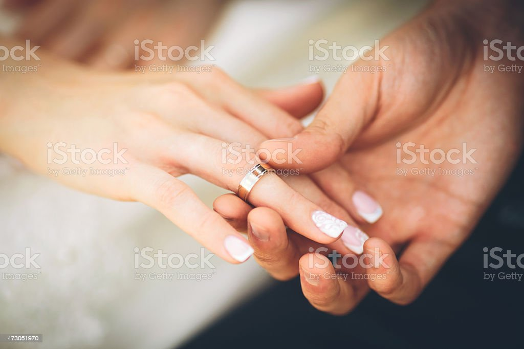 Wedding rings. Wedding couple stock photo