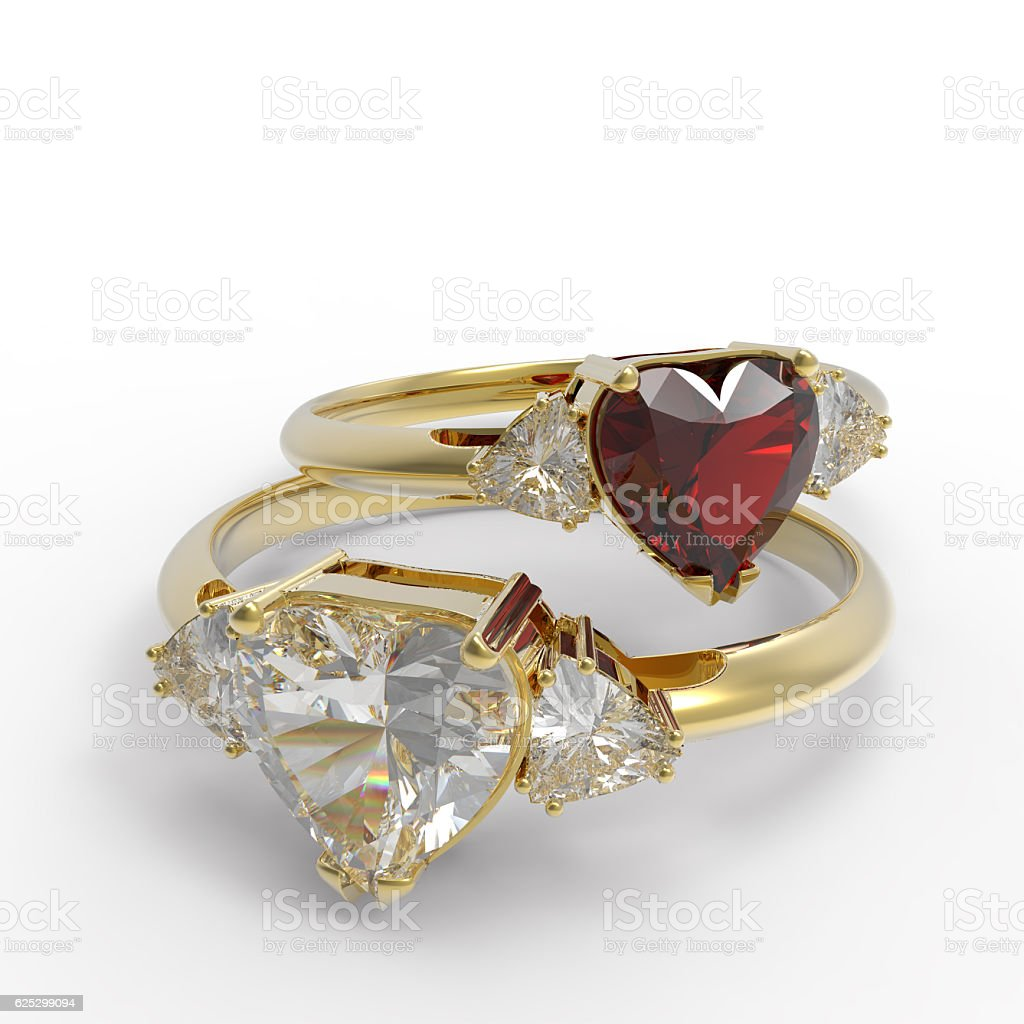 Wedding rings with diamond heart. 3D illustration stock photo