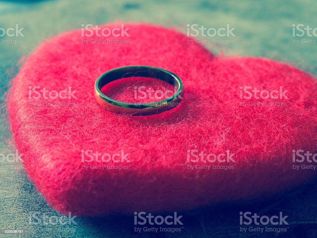 wedding rings with filter effect retro vintage style stock photo