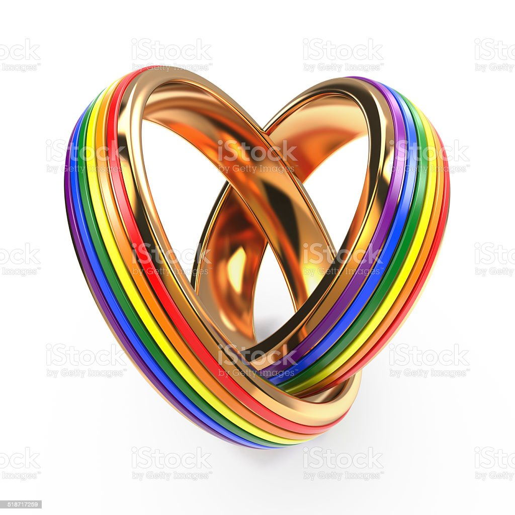 Wedding Rings with Gay Symbols. stock photo