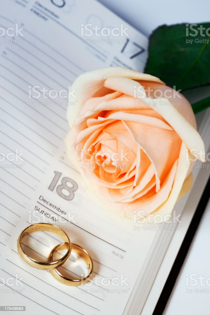 Wedding Rings with Rose on Diary stock photo