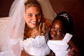 wedding scene - bride and flower girl