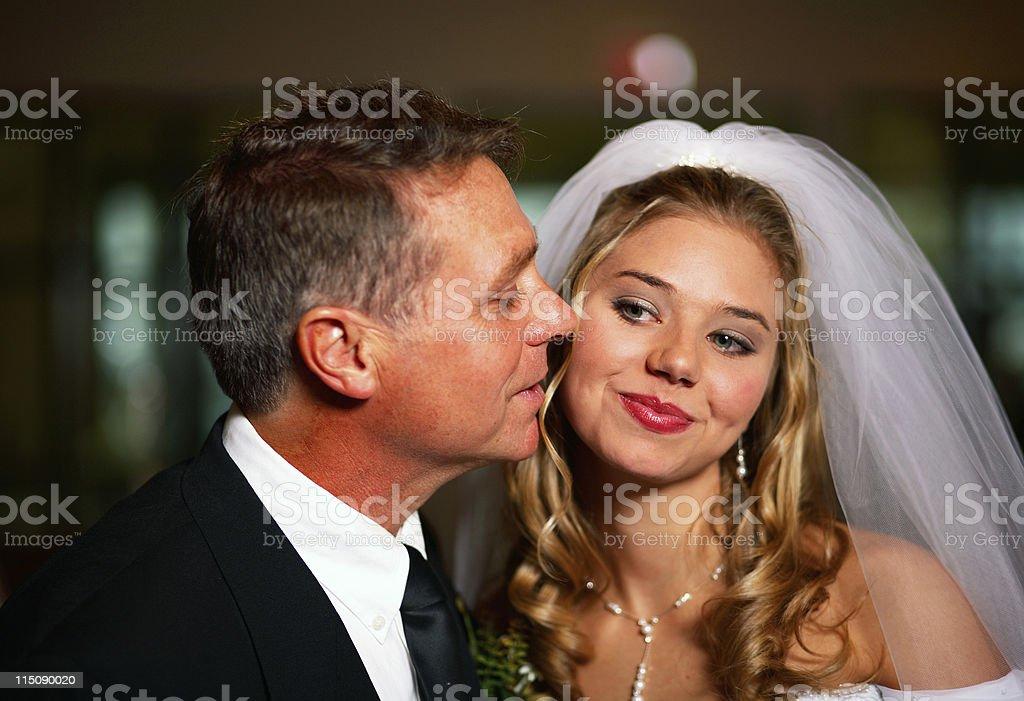 wedding scenes - father bride kiss royalty-free stock photo