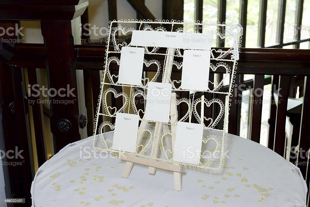 Wedding seating plan stock photo