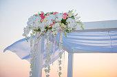 wedding set up on beach