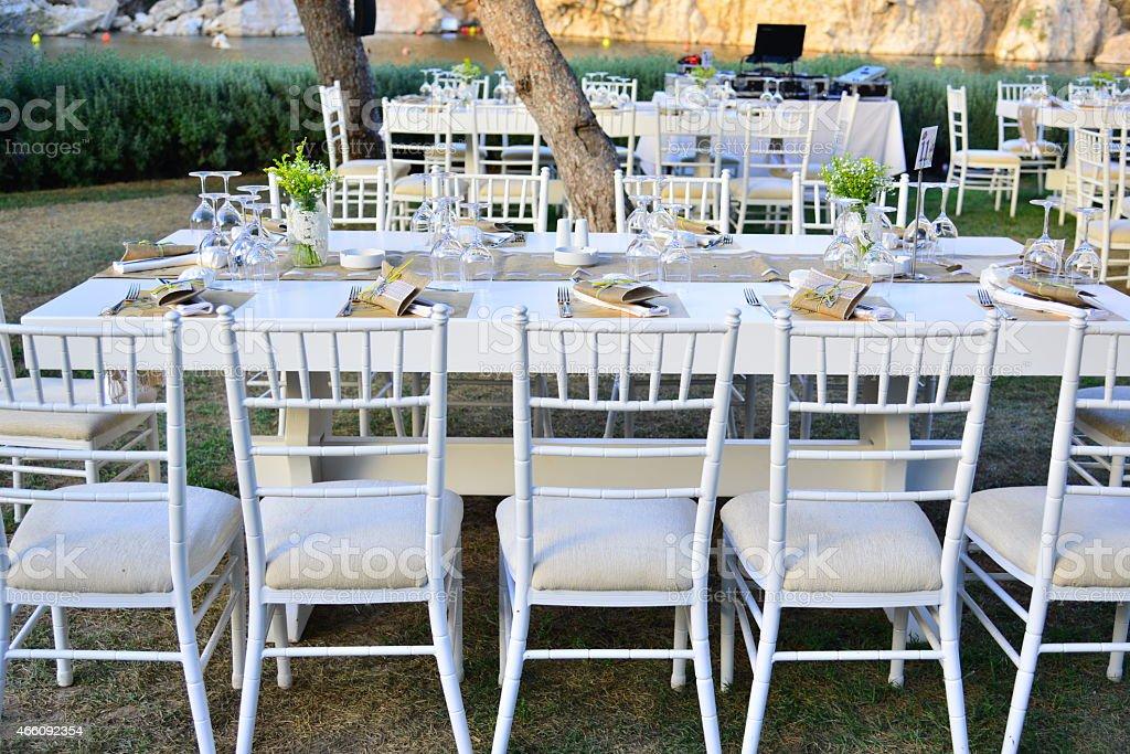 Wedding setup open air celebration stock photo