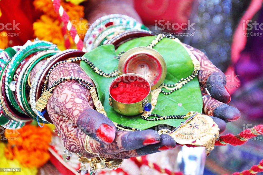 wedding sindoor stock photo