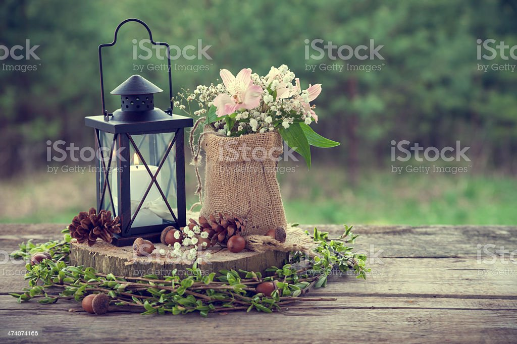 Wedding still life in rustic style. stock photo