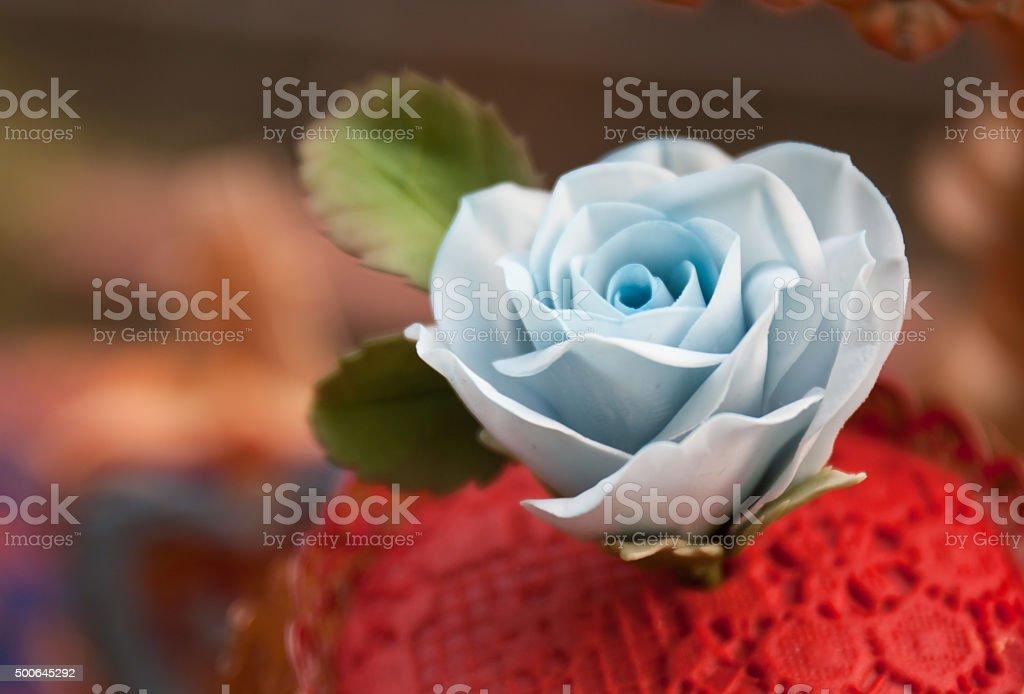 wedding sugar flower cupcake stock photo