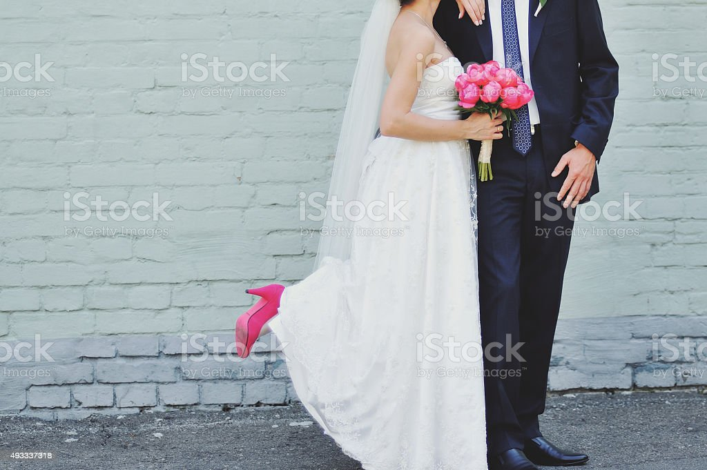 Wedding summer couple together posing. stock photo