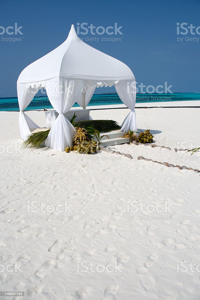 Wedding summerhouse on the tropical island, vertical stock photo