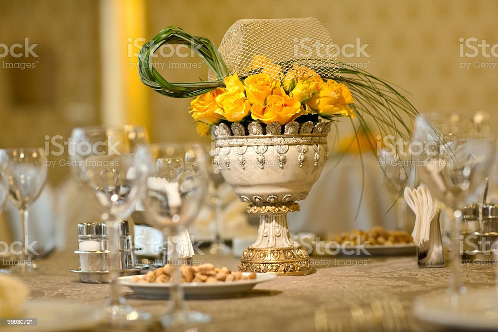 Wedding table arrangement royalty-free stock photo