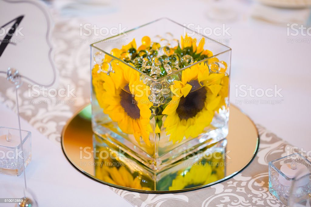Wedding Table Centerpieces with Flowers stock photo