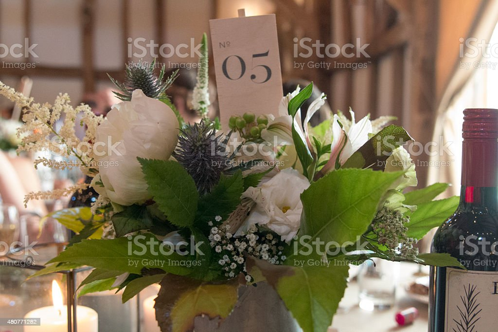 Wedding table centre piece stock photo