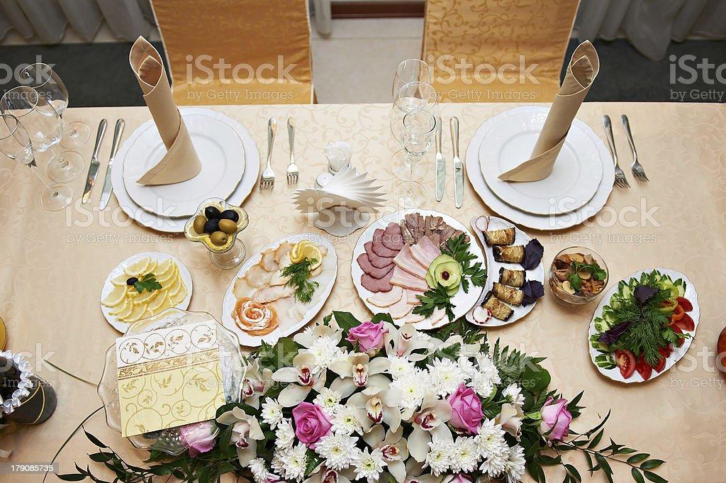 Wedding table for newlyweds stock photo