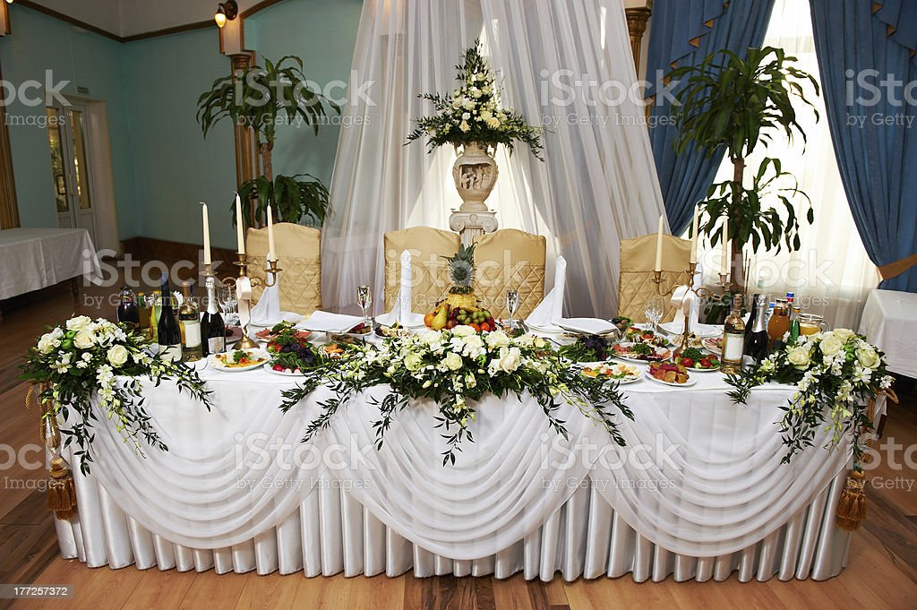Wedding table for the bride and groom stock photo