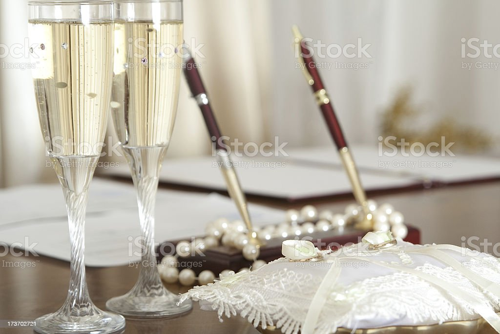 Wedding table in town hall royalty-free stock photo