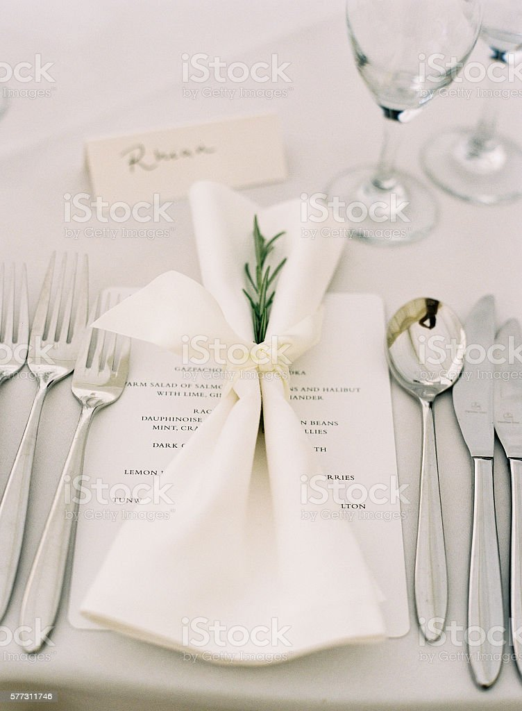 Wedding Table Place Setting stock photo