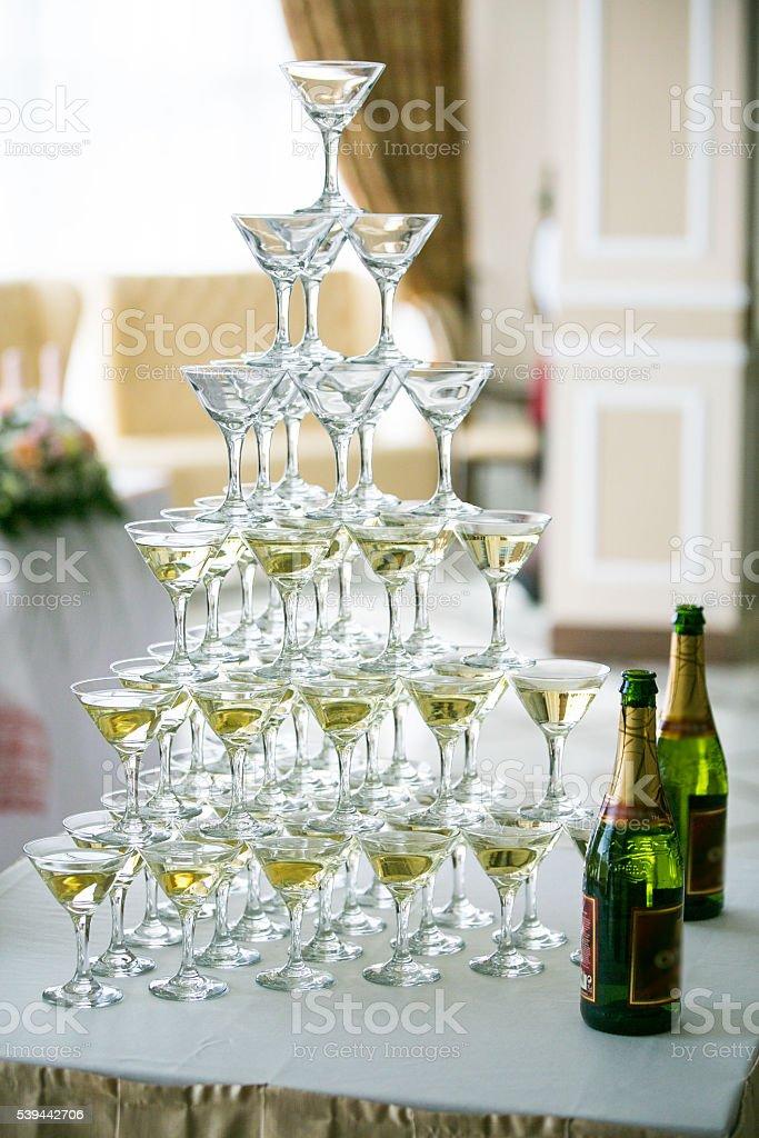 Wedding table setting in restaurant stock photo