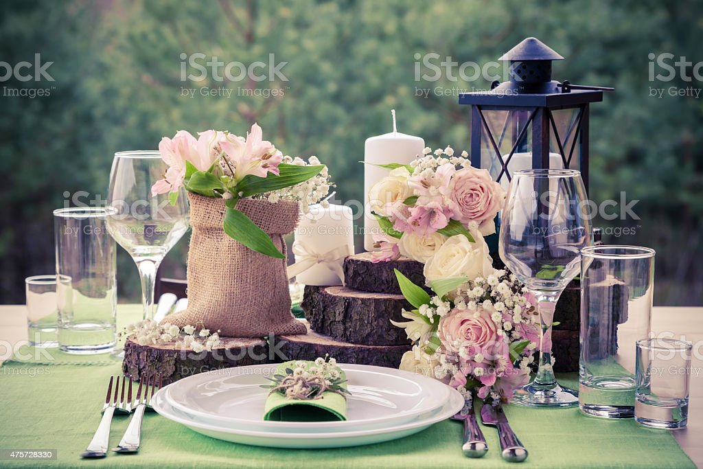 Wedding table setting stock photo