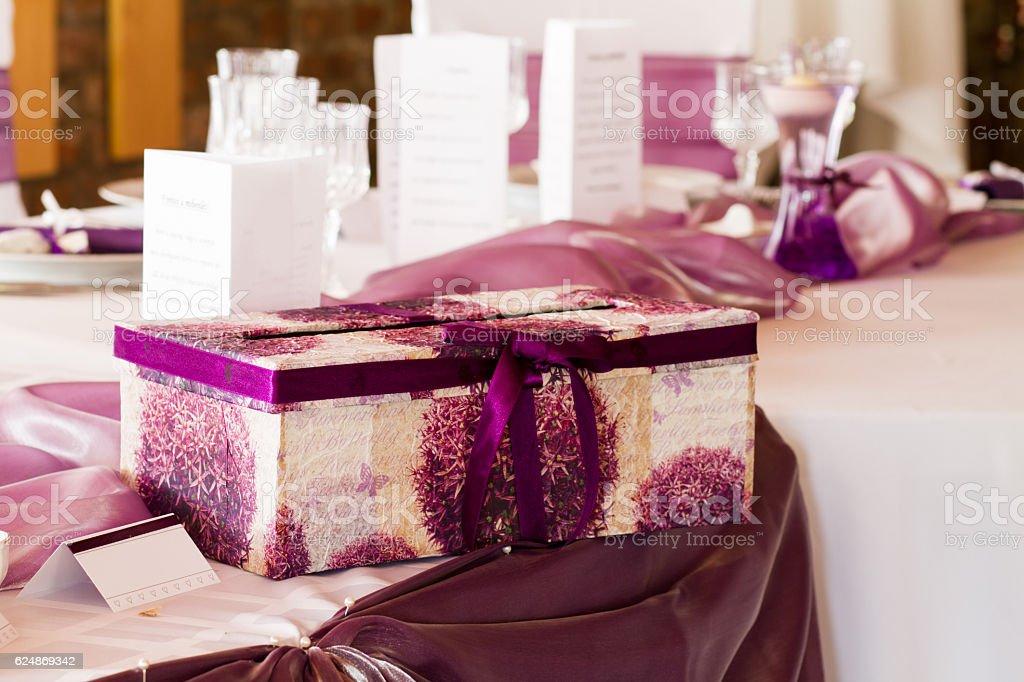 wedding table with giftbox stock photo