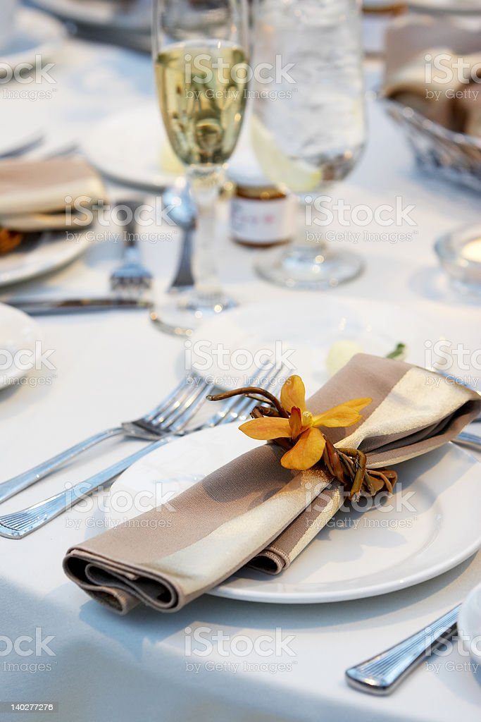 Wedding Table with orchid royalty-free stock photo