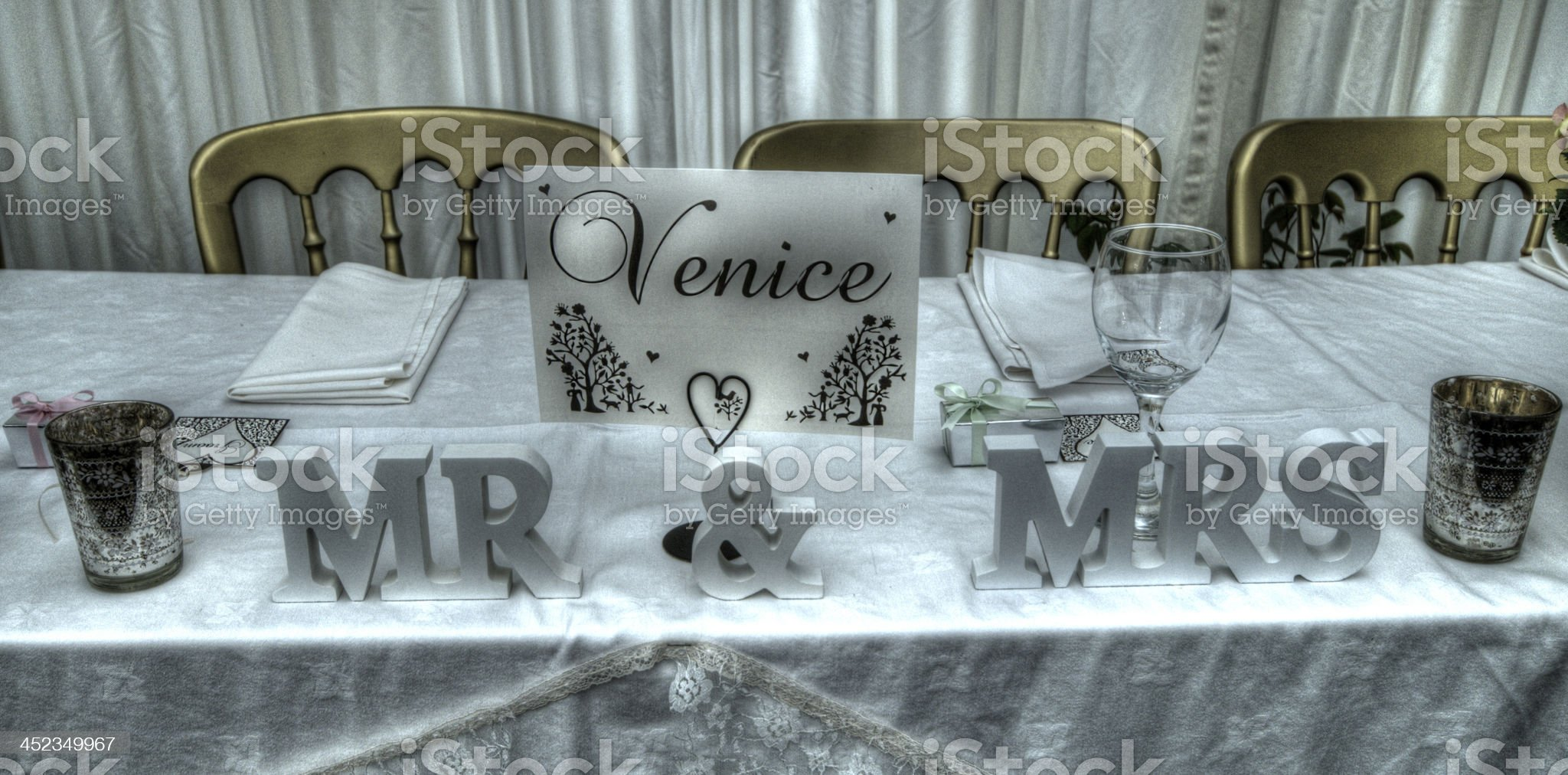HDR wedding tables. royalty-free stock photo