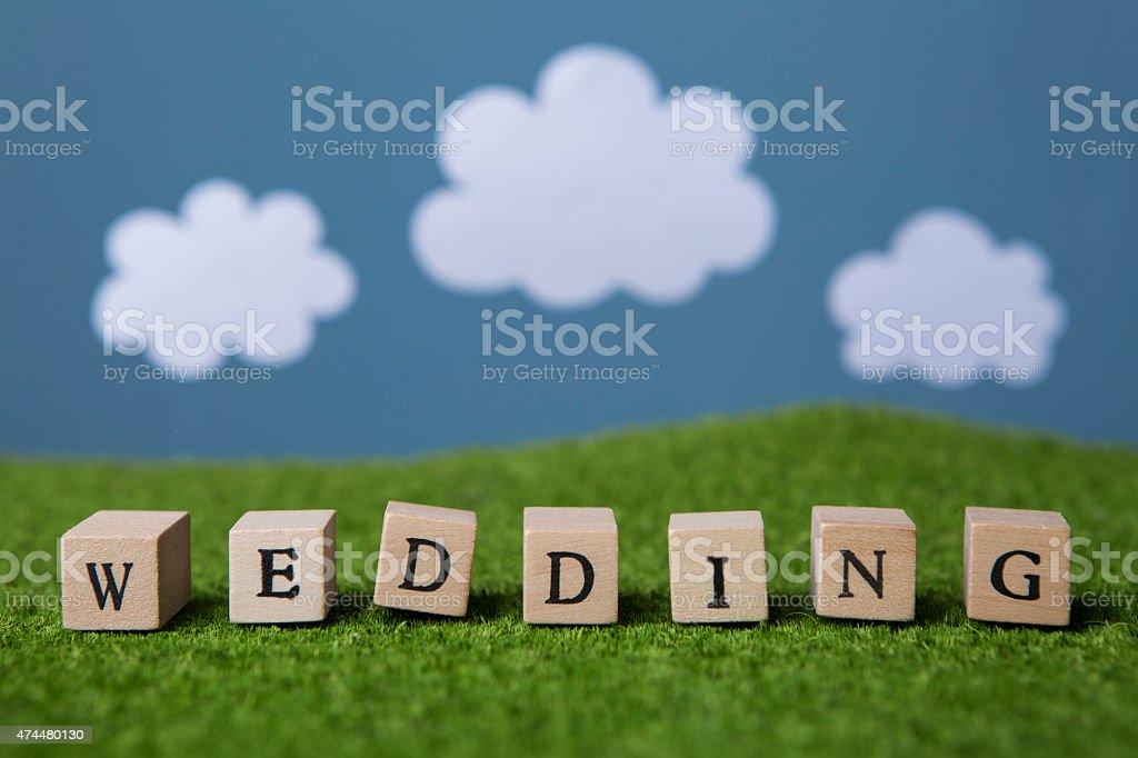 Wedding text stock photo