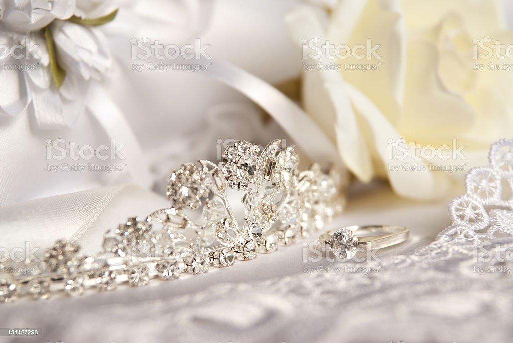 Wedding tiara (diadem) and bridal accessories royalty-free stock photo