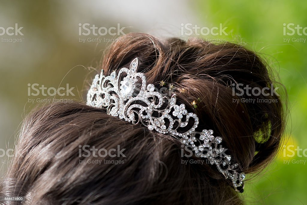 Wedding tiara, diadem. Decorated crystals. Glamour stock photo