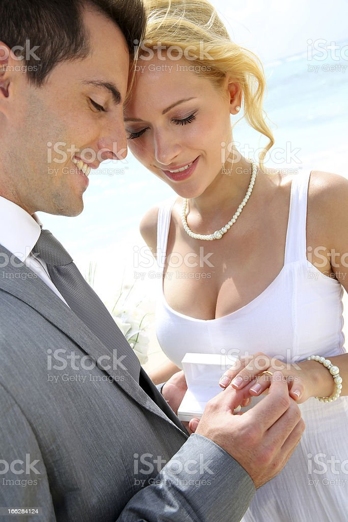 Wedding time at the beach royalty-free stock photo