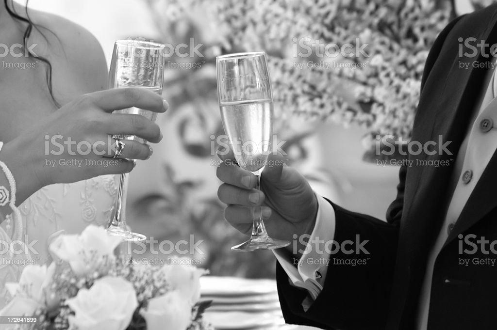 wedding toast - b/w royalty-free stock photo