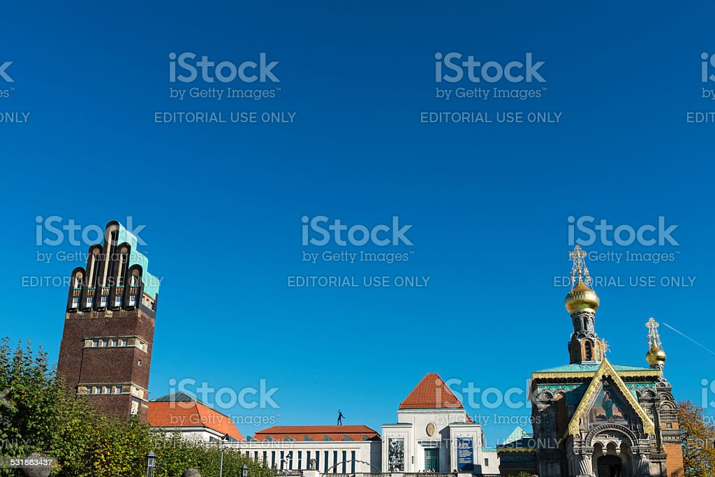 Wedding tower and church, Darmstadt stock photo