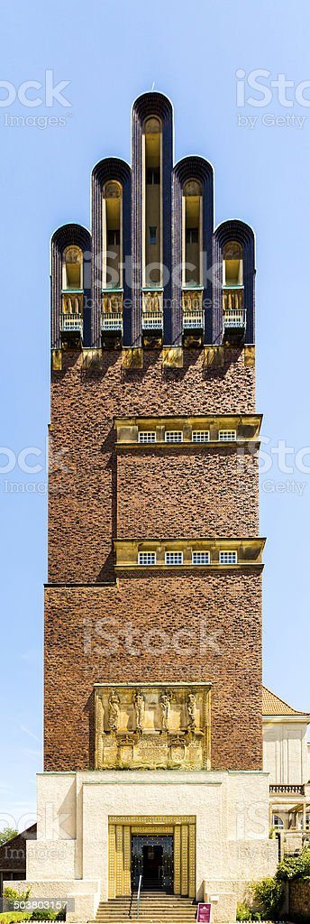 Hochzeitsturm tower at Kuenstler Kolonie artists colony in Darms stock photo