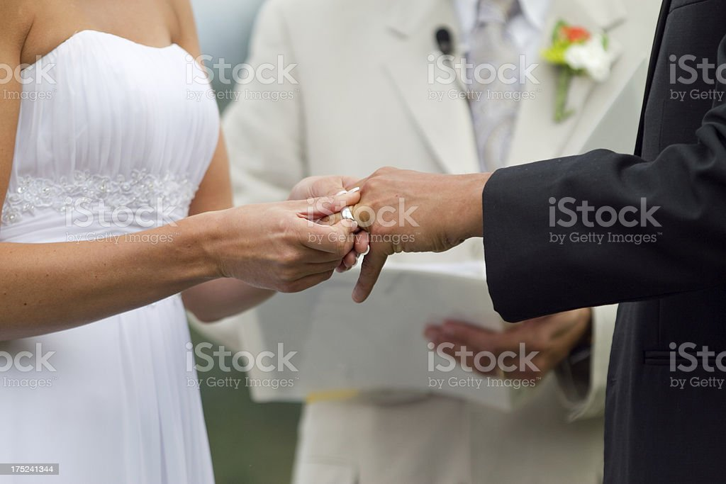 Wedding Tradition Bride Exchanging Ring with the Groom royalty-free stock photo