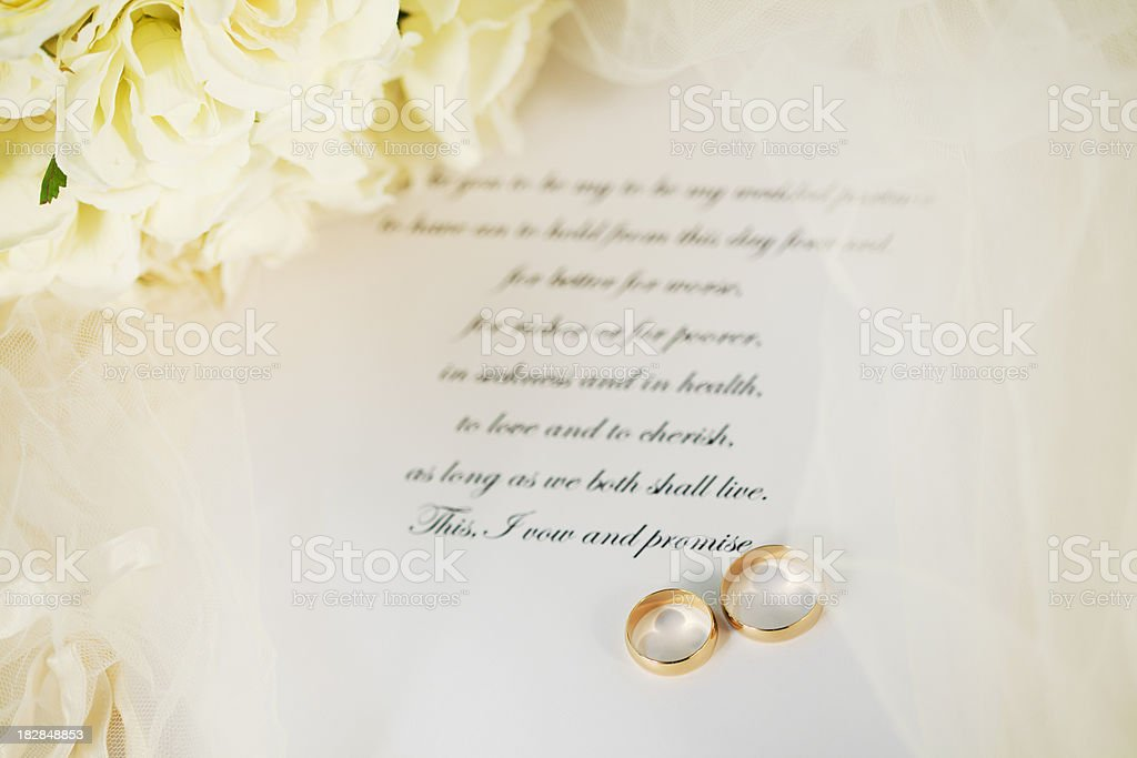 Wedding Vows and Rings stock photo