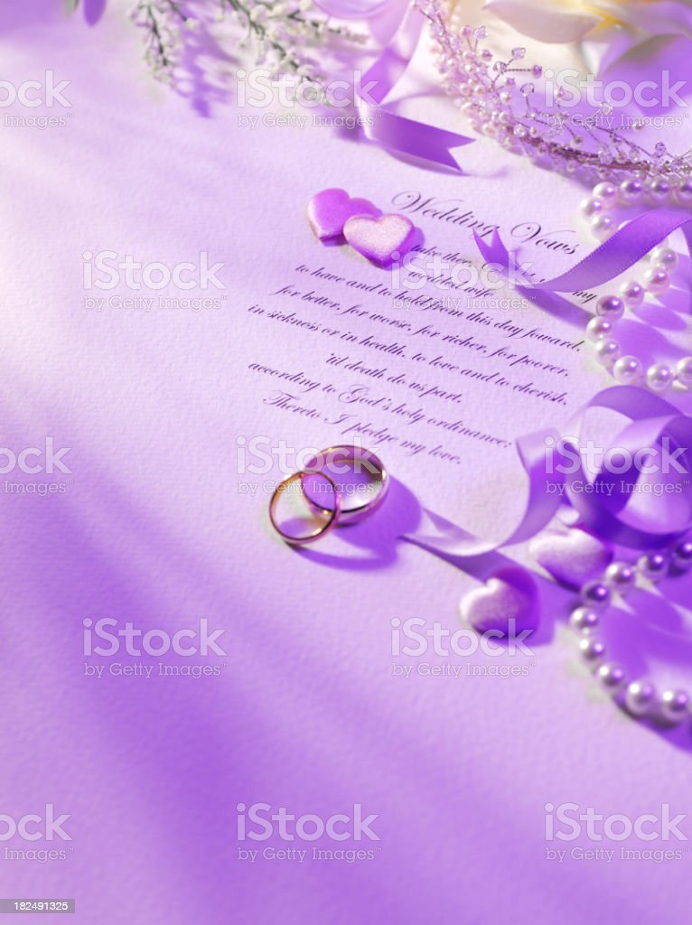 Wedding Vows in Purple royalty-free stock photo